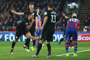 Neal Maupay celebrates his goal against Crystal Palace