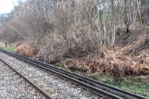 The landslip outside Holmwood Station. Photo by Network Rail Kent and Sussex