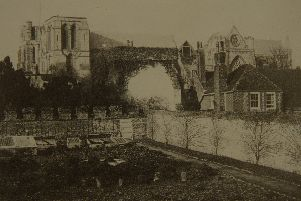 Chichester Cathedral with no spire after the collapse in 1861