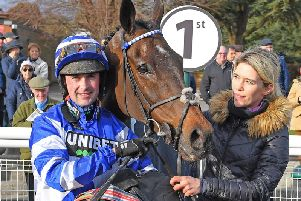 Nico de Boinville with William Henry after their win in the National Spirit Hurdle / Picture: Malcolm Wells