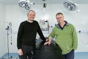 Angus Anderson (left) and Ralph Abercromby at the new practice in the operating theatre SUS-200303-124003001