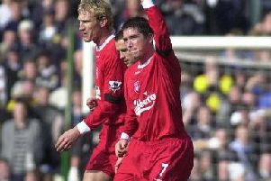 Harry Kewell Harry of Liverpool celebrates scoring against Leeds at Elland Road.'29/2/04  'Picture by: Gary Longbottom