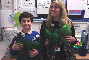 Sam Froggatt and maths subject leader Charlotte Allin with a selection of Sam's Pi creatures. Picture by Durrington Infant and Junior School