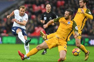 Tottenham striker Harry Kane fires in a shot at Wembley last night. Picture by Phil Westlake (PW Sporting Photography)