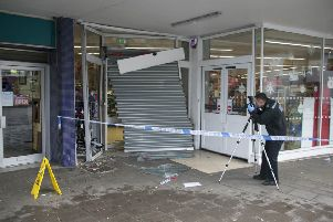 Damage to the front of the shop. All photos: Eddie Mitchell