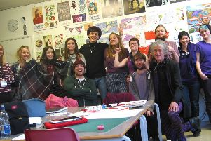 Staff from Plum Pudding visited Northbrook MET and the illustration degree students dressed in purple in their honour
