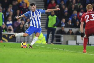 Pascal Gross fires Brighton & Hove Albion's ahead against Watford. Picture by PW Sporting Photography