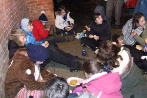 The Scouts were given some hearty soup to help them cope with the harsh weather