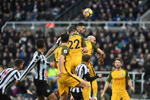 Shane Duffy attacks a set-piece during Albion's draw at Newcastle. Picture by Phil Westlake (PW Sporting Photography)