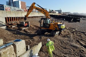 Work begins on Southwick Beach in March 2014, following the collapse of the promenade. Picture: Liz Pearce S09304H14