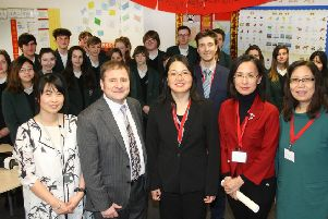 Teacher Shanshan Nai and head teacher Adam Whitehead with Ying Zheng, Fang Zhou and Ying Fu from the Confucius Institute at Southampton University. Pictures: Derek Martin DM1811228a