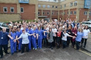 NHS staff celebrating outside Worthing Hospital. Phil Westlake pww_6683