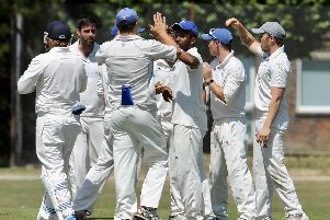 Goring celebrate a wicket in the win over Three Bridges 2nd XI. Picture by Stephen Goodger