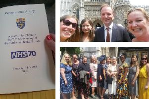 NHS Coastal West Sussex CCG representatives at Westminster Abbey for the celebration service