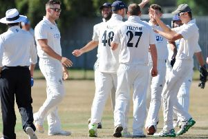 Worthing celebrate a wicket in the win over Slinfold. Picture by Stephen Goodger