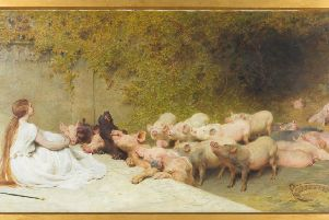 Briton Riviere's lost watercolour 'Circe and the Companions of Ulysses'.