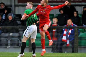 Action from Worthing's FA Trophy tie at Burgess Hill. Picture by Steve Robards