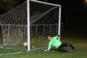Storrington goalkeeper Gary Elliott put in a superb showing in the Sussex Senior Cup exit to Horsham. Picture by John Lines