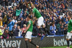 Lewis Dunk and Shane Duffy celebrate the former's opening goal for Brighton & Hove Albion against Cardiff City. Picture by PW Sporting Photography