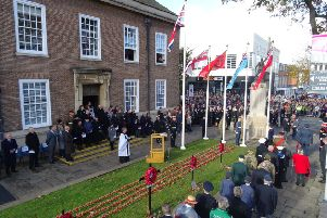 Remembrance Sunday service at Worthing Town Hall. Picture: Eddie Mitchell
