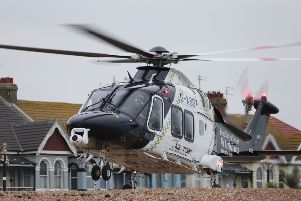 Air ambulance on Worthing Beach. Picture by Eddie Mitchell.