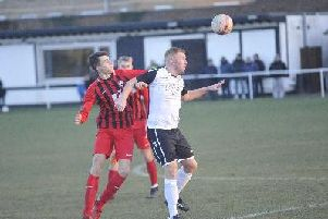 Action from Worthing United's league clash at Bexhill United. Picture: Simon Newstead