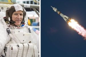 Tim Peake spent six months in space, flying up in a Soyuz TMA-19M rocket (right) in December 2015. Picture: NASA