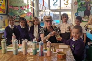 All the children at Whytemead Primary School in Worthing are creating a mosaic after winning a draw by Artful Pottery