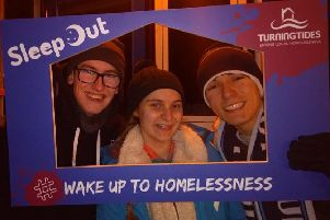 Worthing youth councellor Joshua Davies, Worthing youth mayor Katie Waters and Worthing deputy youth mayor Jimi Taylor at the sleep out OfW0jz_GYc-FHjx-nEFv