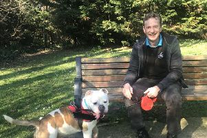 Wadars senior animal rescue officer Billy Elliot with Bobby the bulldog