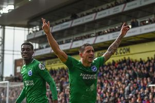 Anthony Knockaert celebrates his stunning winner against Crystal Palace. Picture: Phil Westlake (PW Sporting Photography)