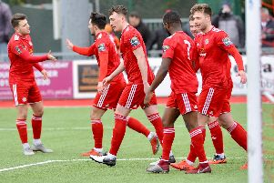 Worthing celebrate a goal in their 2-0 home win over Sussex rivals Whitehawk in the Bostik Premier on Saturday. All pictures by Stephen Goodger.