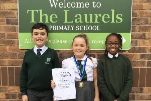 Oliver Marrett, Eleanor Crystal and Joy Prince from The Laurels Primary are celebrating after success at the Worthing Art and Music Festival