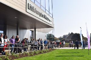 Residents queuing outside Littlehampton Wave today (March 29)