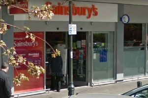 The 4x4 crashed through the automatic doors of Sainsbury's in Crawley, the court heard. Pictures: Google Streetview