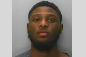 Kamara tried to barricade himself in the flat to stop officers getting in. Picture: Sussex Police
