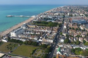 Aerial shot of Worthing seafront