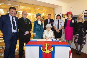 Princess Alexandra with, from left, lifeboat station chairman Dr Tim Stevenson, Adur council vice-chairman George Barton, West Sussex High Sheriff Davina Irwin-Clark, lifeboat operations manager Peter Huxtable, coxswain Steve Smith, West Sussex Lord Lieutenant Susan Pyper and lifeboat press officer Michelle Tugwell. Picture: Geoff Lee