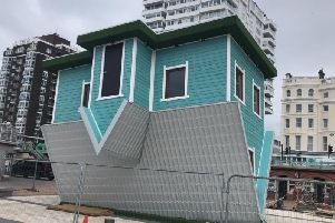 The Upside Down House, under construction on Brighton seafront