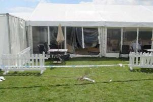 The thieves smashed through the fence and into the marquee. Picture contributed by Arthur Smith