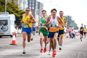 The lead pack take control of the 2019 Worthing 10k race. Picture by Epic Action Imagery