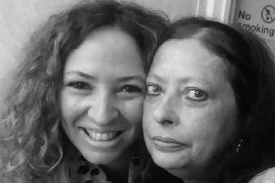 Joanna with her sister Julie who tragically died