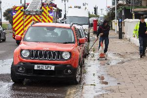 Workers tackling a burst water main in Worthing's Marine Parade