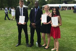 Some of the West Sussex young people with BBC news presenter Clive Myrie, who presented their gold Duke of Edinburgh's Awards