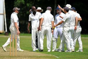 Broadwater celebrate picking up a wicket at Ansty. Picture by Steve Robards