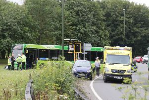 Scene of the A24 crash today between a bus and a car at Washington roundabout. Photo: Eddie Mitchell SUS-190722-105558001