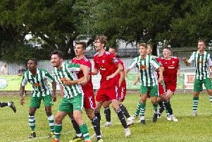 Action from Worthing's friendly at Chichester City. Picture by Neil Holmes