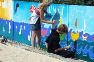 Mural painting by Talent Within You at the SideOut beach volleyball club in Worthing
