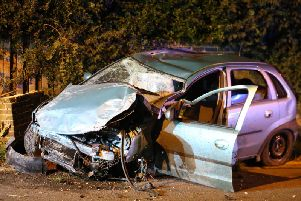 The car following the collision