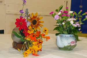 Flower arrangements from the Worthing Allotment and Garden Association show